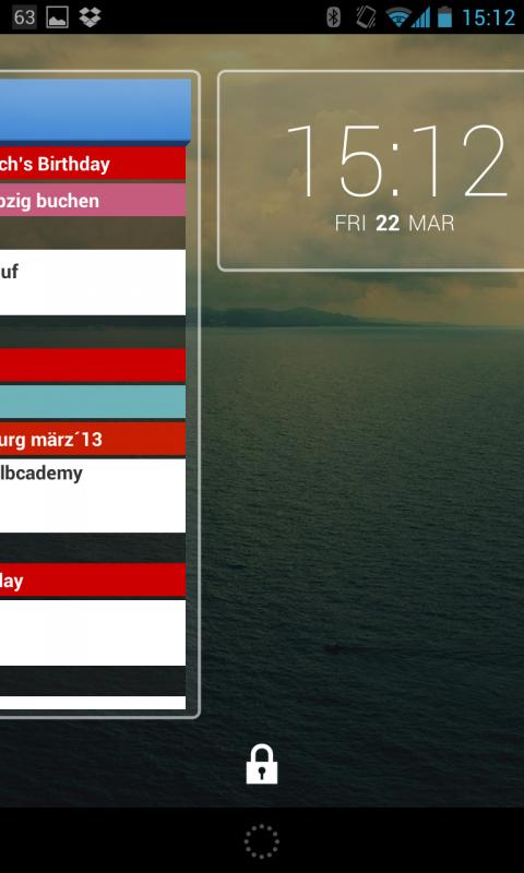 Lockscreen beim Wechsel zwischen zwei Lockscreen-Widgets.